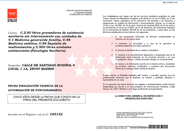 autorización sanitaria de CMR